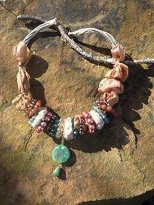 Turkish Jewelry 100% Pure Silk W/ Semi Precious Stones~Genuine Jade Accents
