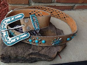 Turquoise Belt With GENUINE Austrian Crystals~genuine Leather Hair On Hide~small