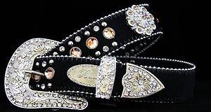 Black Belt, Beautiful  Austrian Crystal~Hair On Hide NWT S, M, L,