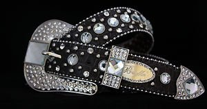 Dark Brown Bling Leather belt, Clear Austrian Crystal~NWT S, M, L, XL~CUTE!!