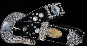 Black Belt, Clear Austrian Crystal~Hair On Hide NWT S, M, L, XL~Cowgirl Belt!