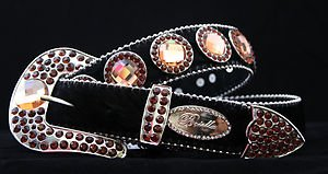 Black with Amber Belt, Austrian Crystal~Hair On Hide NWT S, M, L,