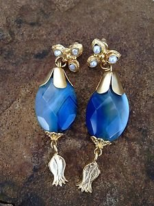 Turkish Jewelry~Earings Blue Carnelian earrings~24KGP OVER BRASS~From Turkey