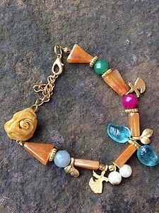 TURKISH Charm Bracelet AGATE~~24K PLATED~Made In Turkey~GORGEOUS! NWT!