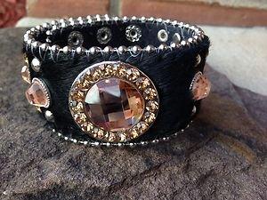 Black Cuff Leather & Hair On Hide ~Genuine Austrian Crystal NWT~Adjustable Cuff