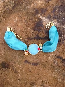 Turkish Jewelry~100% Aqua Silk Agate Bracelet Hand Made In Turkey~ NWT BEAUTIFUL