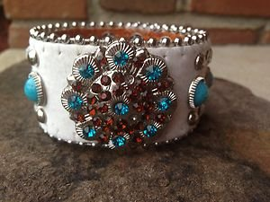 Bling Cowgirl Bracelet~Cuff White Turquoise Genuine Leather & Crystals NWT