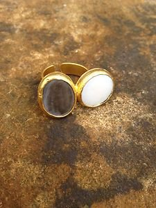 Turkish Jewelry~Adjustable  Ring with Double Stone~Genuine Mother Of Pearl NWT~
