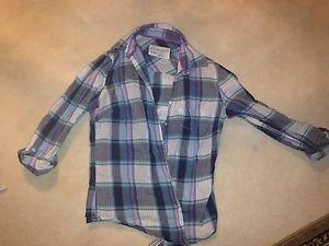 AEROPOSTALE XS blue Plaid Button Down Shirt womens XS~Cute