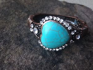 Copper Jewelry Heart Bracelet With Genuine TURQUOISE Austrian Crystals-NWT CUTE