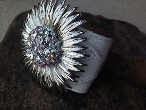 WHITE GENUINE Leather Flower Cuff ~Embellished in Genuine Austrian Crystal~ NWT