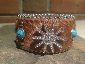 Turquoise Wide CUFF With GENUINE Leather & Austrian Crystal Star~Hair on Hide