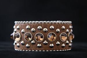 Wide Brown Bling Cuff Genuine Leather Hair on hide Adjustable Cuff - NWT  CUTE!!