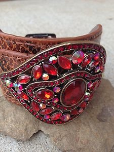 "Red  WIDE Cuff Genuine Leather  EMBOSSED W/ Buckle~""Unique"" NEW never worn!!"