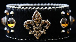 Fleur De Leis CUFF With GENUINE Leather & Hair On Hide ~NWT~ ADJUSTABLE SNAPS