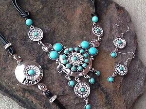Turquoise jewelry set~Turquoise Genuine Leather adorned w/ Crystal ~Retail $120+