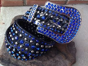 Royal Blue Belt with Black Leather & Genuine Crystal~Hair On Hide~ NWT~Beautiful