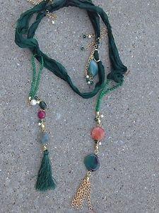 Turkish Necklace~Pure Spun Silk Adorned W/Semi Precious Gemstones One Of A Kind!
