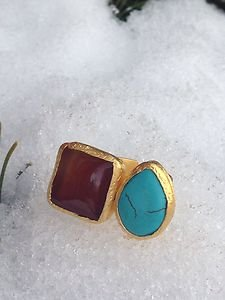 Turkish Jewelry Genuine Turquoise & Red Jade Ring~ Made In Turkey~NWT~BEAUTIFUL