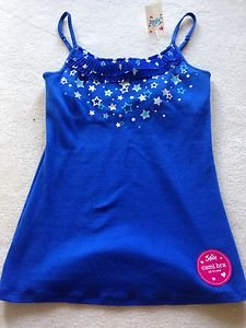 Justice girls BLUE CAMI TANK TOP size 14 with BEAUTIFUL ~NWT