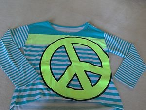 Justice PEACE Shirt Green & Blue ~Girls Sz 10 really CUTE Back To Scool Sale!