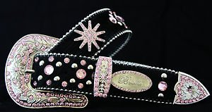 Western Crystal Belt~Black And Pink Genuine Leather~Hair On Hide~ & Crystal~NWT