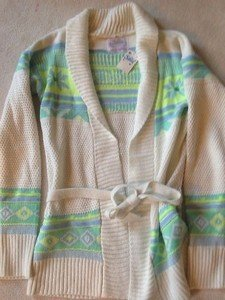 Justice GIRLS LONG SLEEVE SWEATER JACKET WITH TIE BELT SIZE 16 New With Tags!!