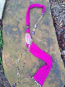 Turkish Necklace~Scarf Pink Adorned With Semi Precious Gemstones One Of A Kind!