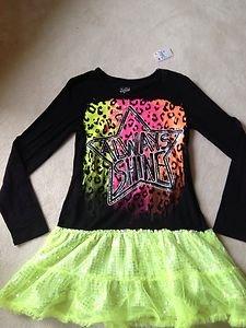 Justice Girls TUTU DRESS Blk & Neon Sz 16~Sequins~Nwt! Back To School Sale!!!