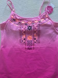 Justice girls PINK  CAMI TANK TOP size 14 with CUTE DESIGN ON THE FRONT~~NWT