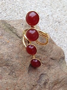 Turkish Jewelry Orange Agate RING 24K PLATED~Hand  Made In Turkey~NWT~BEAUTIFUL