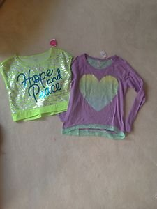 Justice Lot Of 2 Shirts Size 20 Both Brand New WithTags!! ADORABLE lots of bling