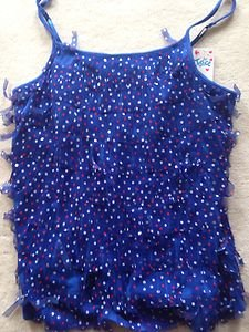 Justice girls BLUE CAMI TANK TOP size 18  with frindge red white & blue~~NWT