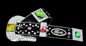 Cowgirl Bling Belt~Black & Iridescent Genuine Leather~Hair On Hide & Crystal~NWT