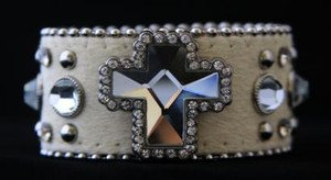 White Western Bracelet With Austrian Crystals~Genuine Leather w/ Cross NWT