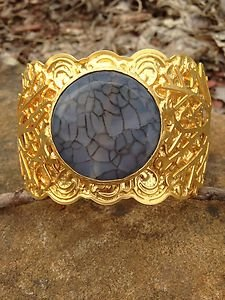 Turkish Jewelry~Cuff genuine Gray Agate~Hand  Made In Turkey~GORGEOUS!! NWT!��