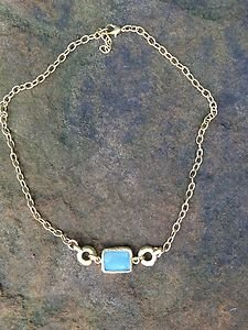 Turkish Jewelry Necklace~Genuine Aqua Agatr dipped in Buttery 24k Gold~Stunning!