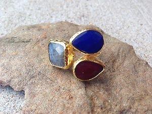 Turkish Jewelry~Triple Stone Ring~Genuine Jade~From Turkey~NWT~BEAUTIFUL