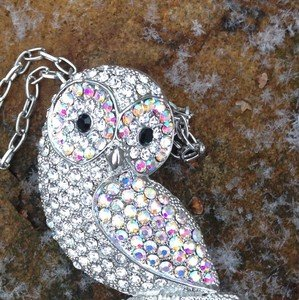 Owl Necklace~BROACH~ With GENUINE Crystal~VERY PRETTY! NEVER WORN