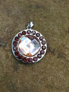 Crystal Necklace Pendant Beautiful  For Jewelry Making!! Browns New!!