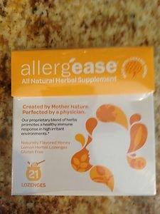 Allergease All Natural Herbal Supplement 21 Lozenges Honey Lemon~exp 2015