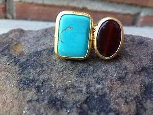 Turkish~Double Stone Ring~Genuine Stones-Adjustable Made In Turkey~NWT~BEAUTIFUl