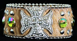 Wide Leather Brown Cuff With Iron Crystal cross- NWT~Adustable cuff