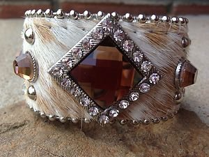 Wide Leather Cuff~ADJUSTABLE ADORNED With Austrian Crystals NWT! SO Beautiful!!