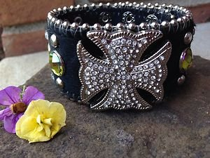 Cowgirl Bling wide CUFF~Genuine Leather & Austrian Crystal~Adjustable NWT!