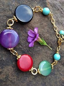 TURKISH Jewelry Gemstone Bracelet~24K PLATED~  Made In Turkey~GORGEOUS! NWT!