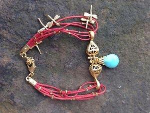 Turkish Jewelry  Charm Bracelet  Genuine Calf Leather and Turquoise 24k gp