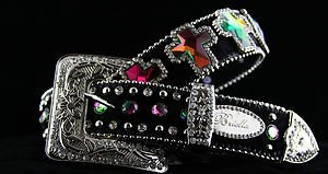 BLING Belt Black Cross Genuine Leather & Crystal~~STUNNING!! NWT!! Many Sizes