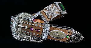 Belt Brown Genuine Leather~Hair On Hide~ & Crystal~BEAUTIFUL!! NWT~~MANY SIZES!!