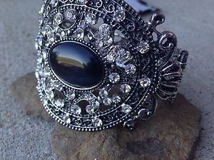 BLACK bracelet~  Embellisehed in Crystal~~VERY Beautiful!! NWT!! Retails for $50